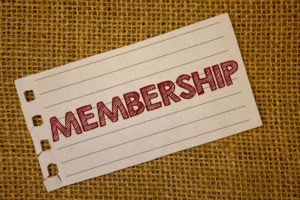 Text sign showing Membership - message black red letters words wicker background